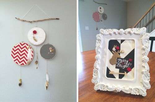 Christmas Holiday Dreamcatcher and deer frame